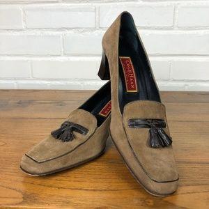 Cole Haan Leather Suede Tassel Loafer Pump SZ 7.5